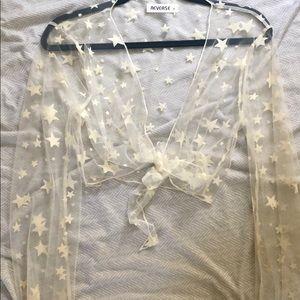 white sheer star shirt